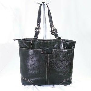 Coach Black Leather Tote Handbag